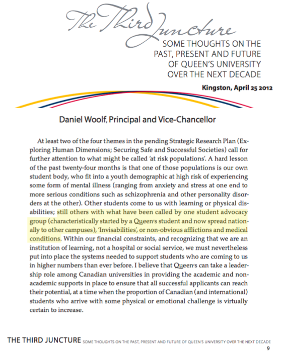 "InvisAbilities shout out by Queen's University's Principal, Daniel Woolf in his official report ""The Third Juncture"". He mentions the need to bolster advocacy and support initiatives, to create inclusive communities. Thanks to all our supporters who promote the cause and to those living with invisible illness, who are a continual source of knowledge, wisdom and inspiration."